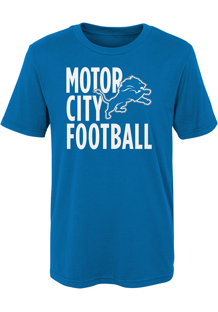 detroit lions boys blue motor city football short sleeve t