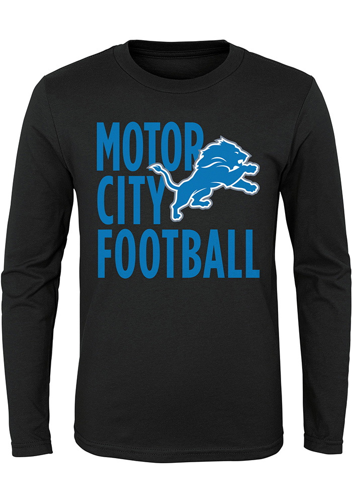 detroit lions youth black motor city football long sleeve