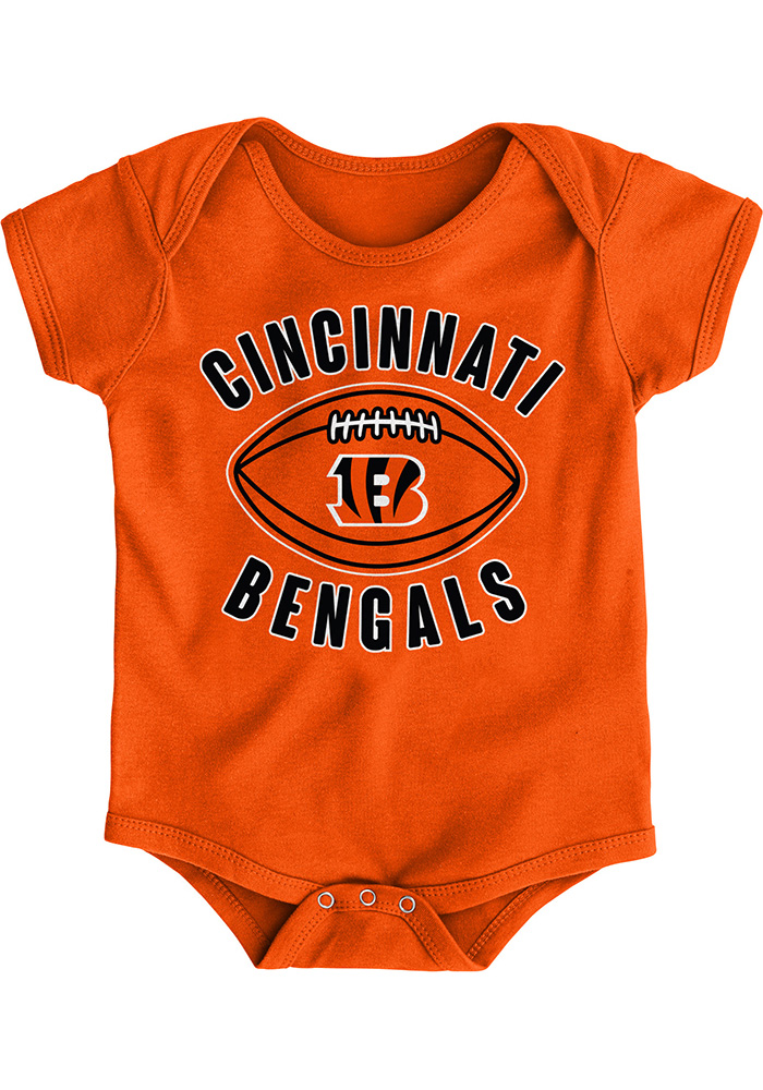 Cincinnati Bengals Baby Orange Little Kicker B Short Sleeve One Piece - Image 1
