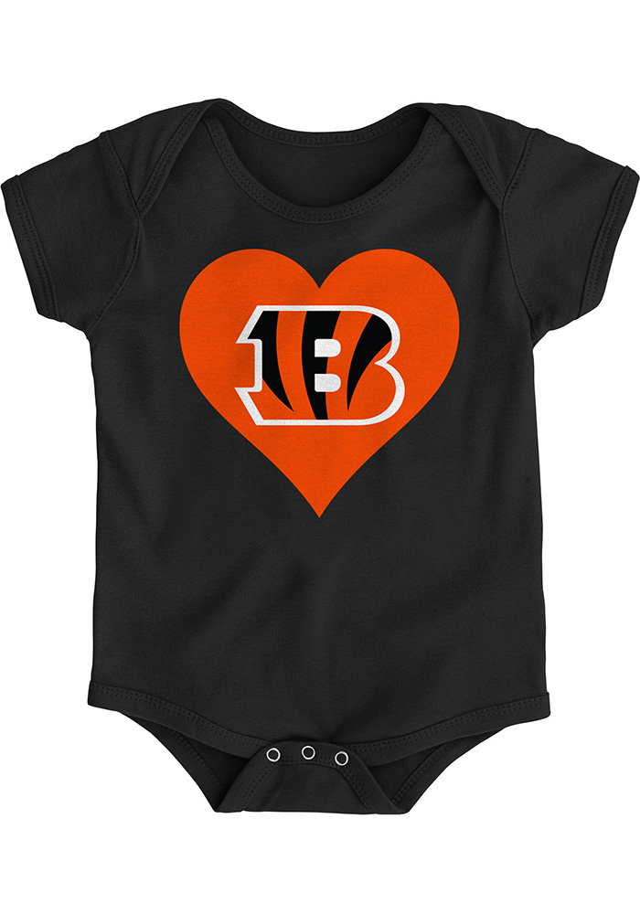 Cincinnati Bengals Baby Black Heart B Short Sleeve One Piece - Image 1