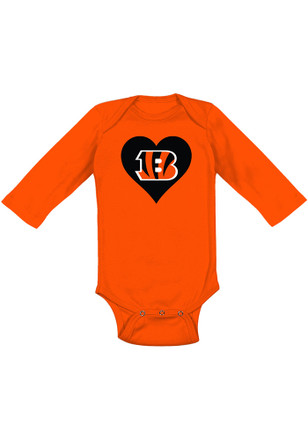 Cincinnati Bengals Baby Orange Heart B LS One Piece