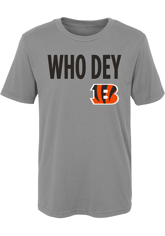 Cincinnati Bengals Boys Grey Who Dey Short Sleeve T-Shirt - Image 1