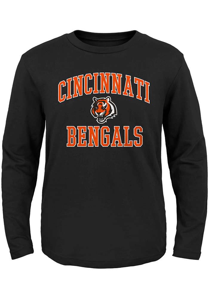 Cincinnati Bengals Boys Black #1 Design Long Sleeve T-Shirt - Image 1