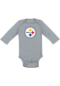 Pittsburgh Steelers Baby Grey Distressed Primary One Piece