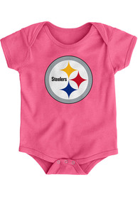 Pittsburgh Steelers Baby Pink Primary Logo One Piece