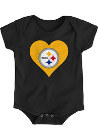 Pittsburgh Steelers Baby Black Heart One Piece
