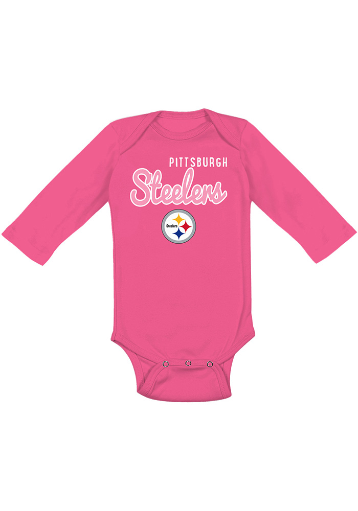 Pittsburgh Steelers Baby Pink Big Game LS Tops LS One Piece - Image 1