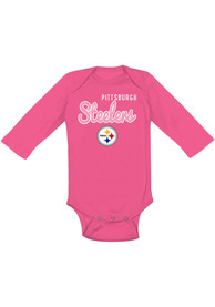 Pittsburgh Steelers Baby Pink Big Game LS One Piece