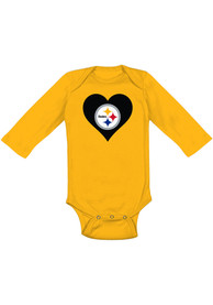 Pittsburgh Steelers Baby Gold Heart LS One Piece