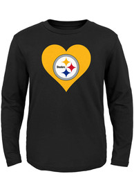 Pittsburgh Steelers Toddler Girls Black Heart T Shirt