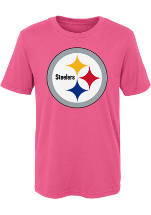 Pittsburgh Steelers Girls Pink Primary Logo T-Shirt