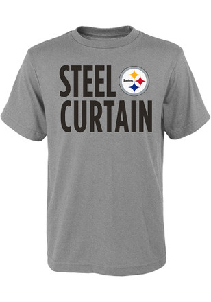 Pittsburgh Steelers Youth Grey Steel Curtain T-Shirt