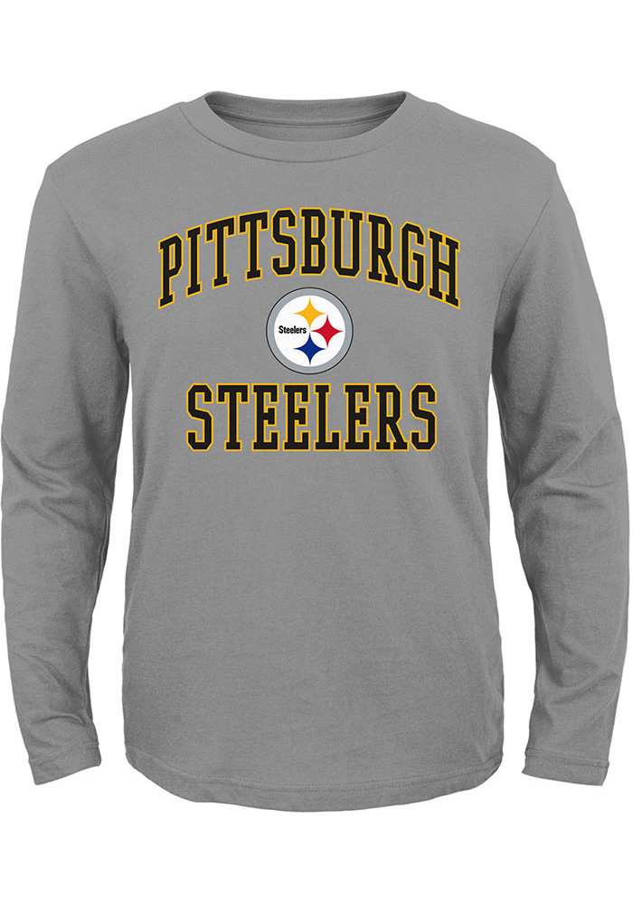 Pittsburgh Steelers Youth Grey #1 Design Long Sleeve T-Shirt - Image 1