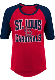 St Louis Cardinals Girls Red Bases Loaded Long Sleeve T-shirt