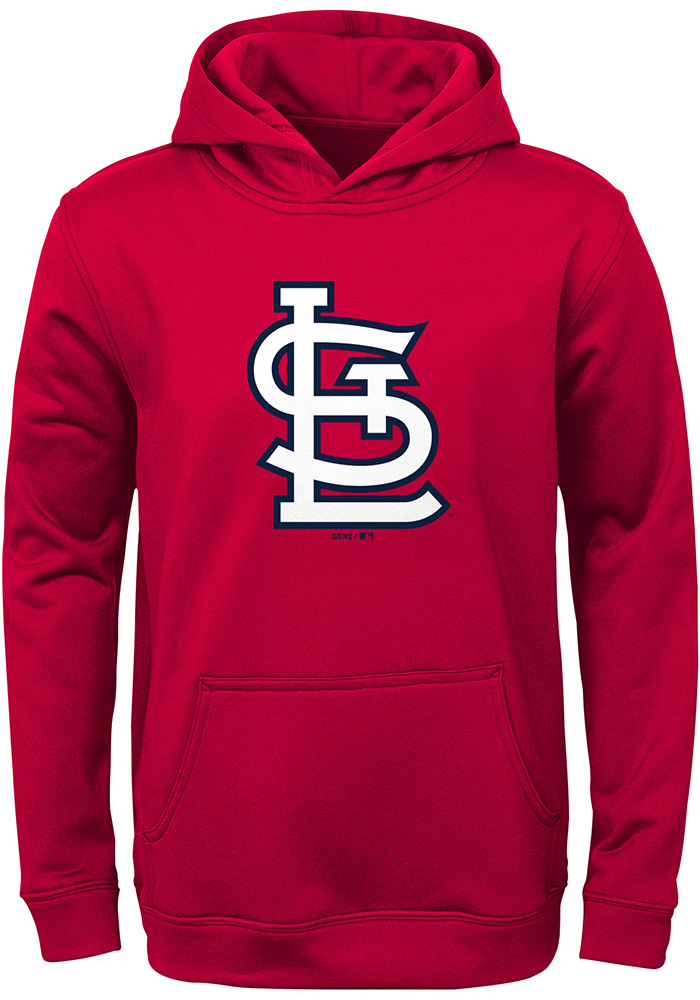 St Louis Cardinals Youth Red Logo Long Sleeve Hoodie - Image 1