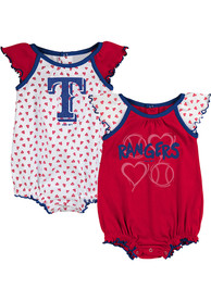 Texas Rangers Baby Red Play With Heart One Piece