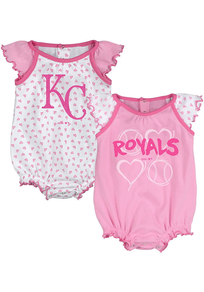 Kansas City Royals Baby Pink Play With Heart Set One Piece - Image 1