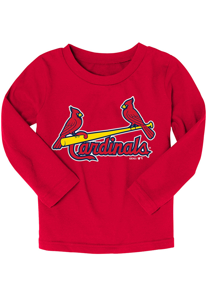 St Louis Cardinals Baby Red Wordmark Long Sleeve T-Shirt - Image 1