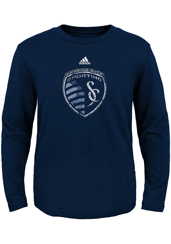 Sporting Kansas City Baby Navy Blue Distressed Primary Long Sleeve T-Shirt - Image 1