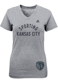 Sporting Kansas City Girls Grey Logo Stamp Fashion T-Shirt