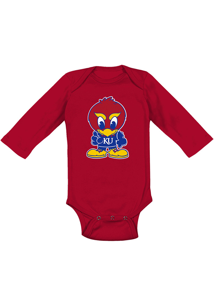 Kansas Jayhawks Baby Red Baby Jay Long Sleeve One Piece - Image 1
