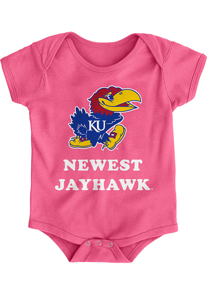 Kansas Jayhawks Baby Pink Newest Short Sleeve One Piece - Image 1