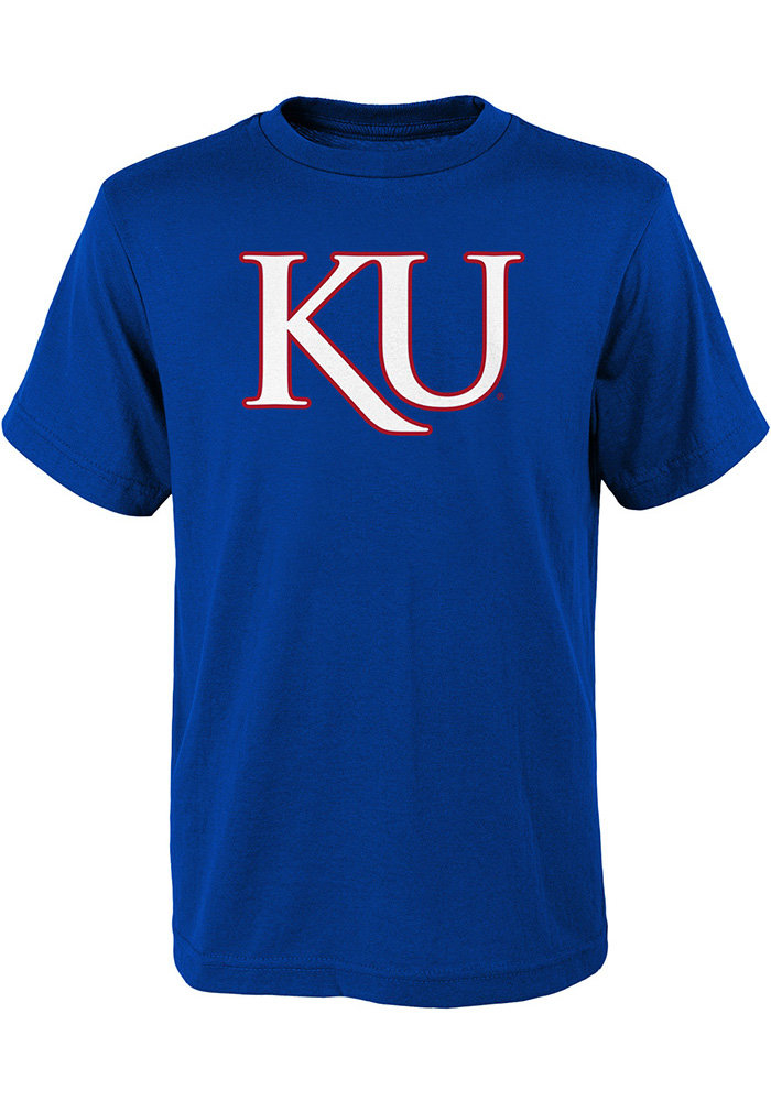 Kansas Jayhawks Youth Blue KU Short Sleeve T-Shirt - Image 1