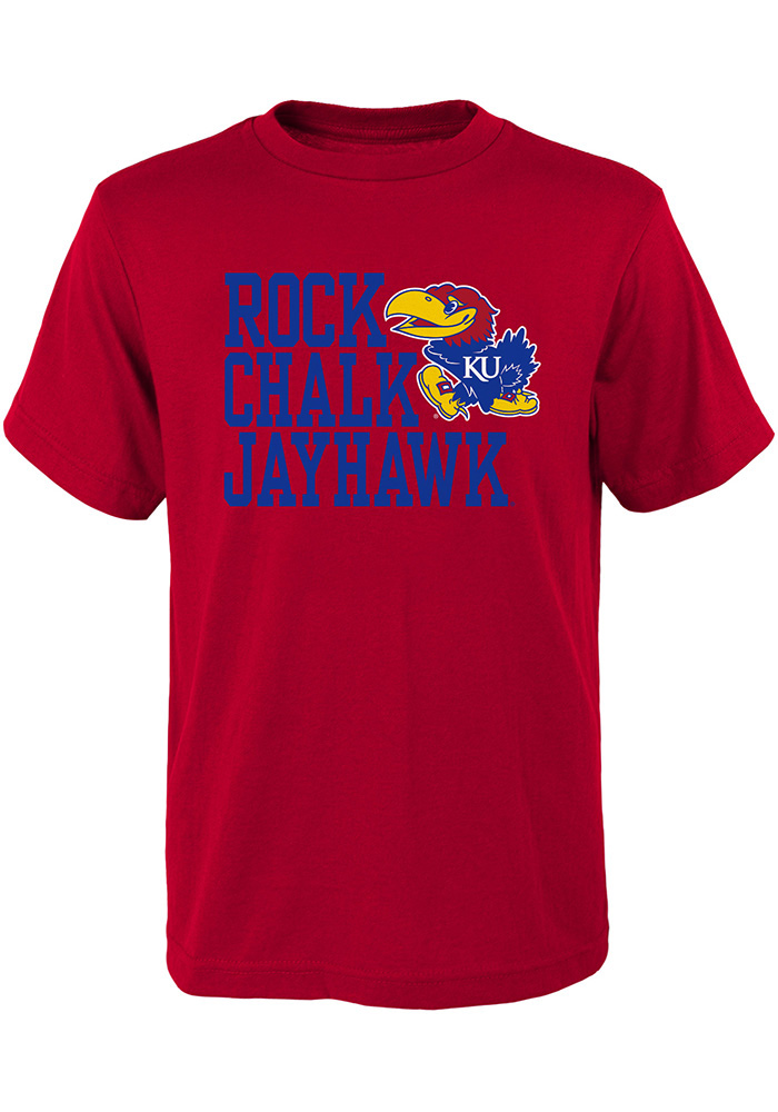 Kansas Jayhawks Youth Red Rock Chalk Short Sleeve T-Shirt - Image 1