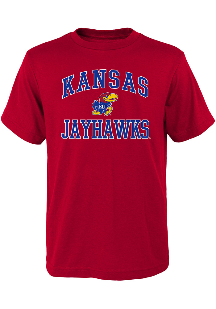 Kansas Jayhawks Youth Red #1 Design Short Sleeve T-Shirt - Image 1