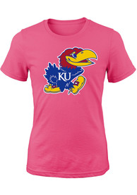 Kansas Jayhawks Girls Pink Jayhawk T-Shirt