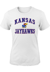 Kansas Jayhawks Girls White #1 Design T-Shirt