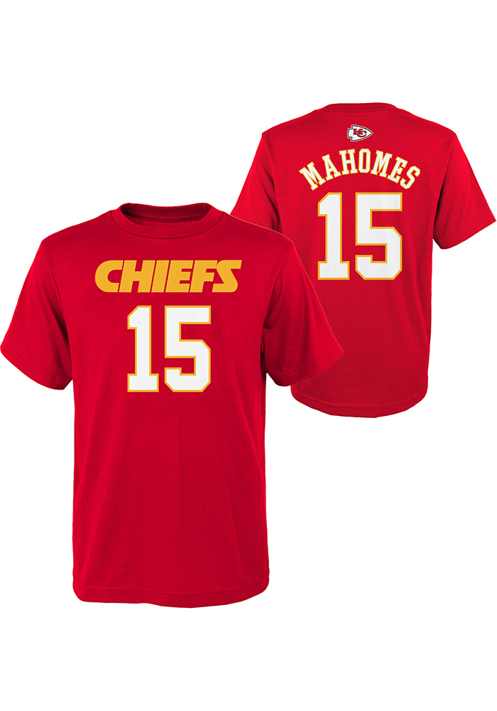 Patrick Mahomes Kansas City Chiefs Youth Red Mainliner Player Tee - Image 1