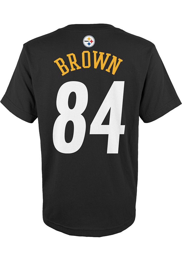78a0e3be6 Antonio Brown Outer Stuff Pittsburgh Steelers Youth Mainliner Black Player  Tee