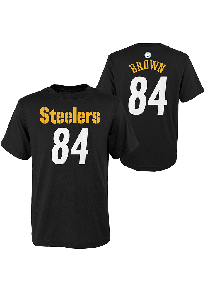 cheap for discount 6a84f 4cae6 Antonio Brown Pittsburgh Steelers Boys Black Player Short Sleeve T-Shirt