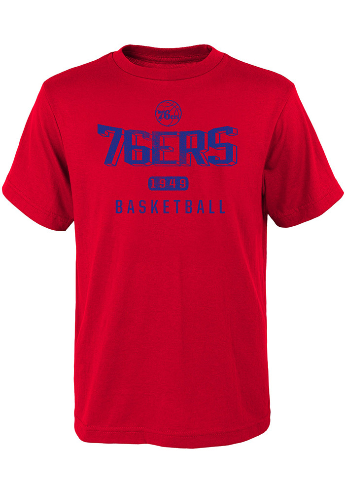 Philadelphia 76ers Youth Red Wired Up Short Sleeve T-Shirt - Image 1