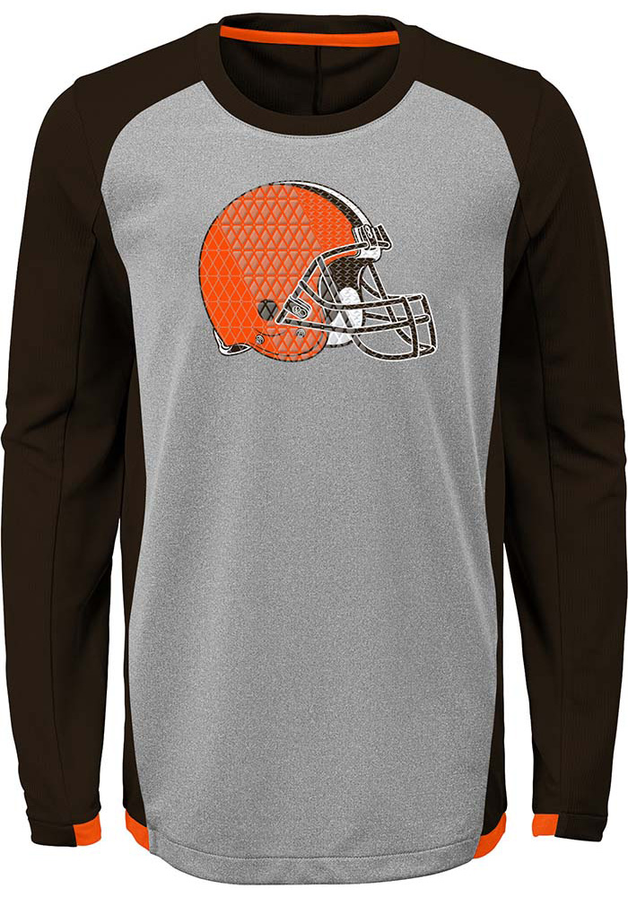 Cleveland Browns Youth Brown Mainframe Long Sleeve T-Shirt - Image 1