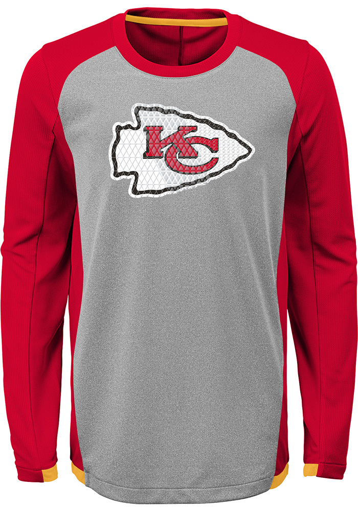 Kansas City Chiefs Youth Red Mainframe Long Sleeve T-Shirt - Image 1