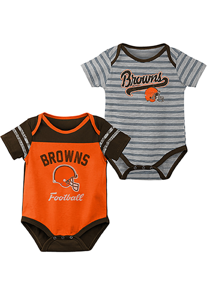 Cleveland Browns Baby Orange Dual-Action One Piece - Image 1