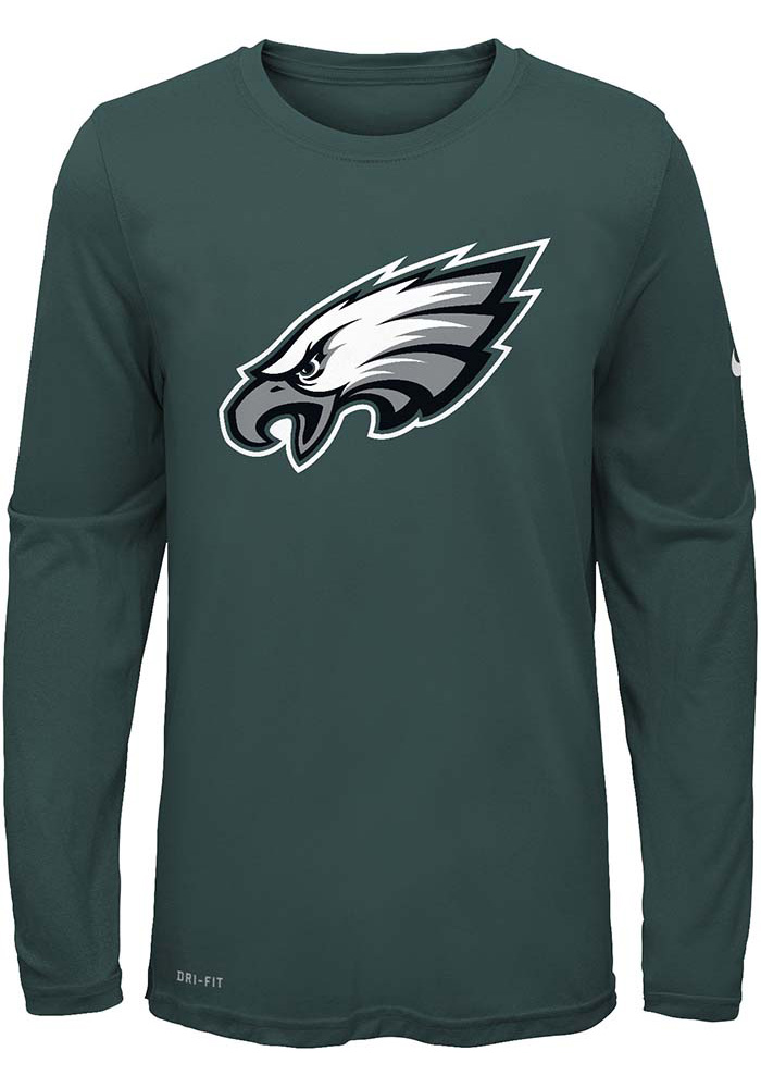 Philadelphia Eagles Youth Teal Essential Logo Long Sleeve T-Shirt - Image 1