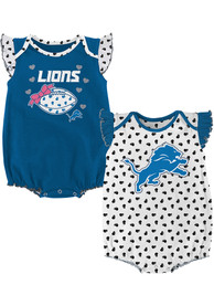 Detroit Lions Baby Heart Fan One Piece - Blue