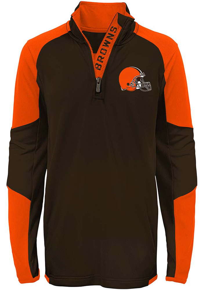 Cleveland Browns Youth Brown Beta Long Sleeve Quarter Zip Shirt - Image 1