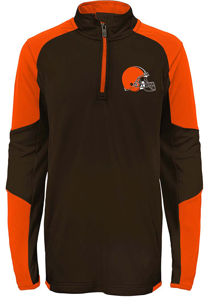 Cleveland Browns Youth Brown Beta Long Sleeve Quarter Zip Shirt - Image 2
