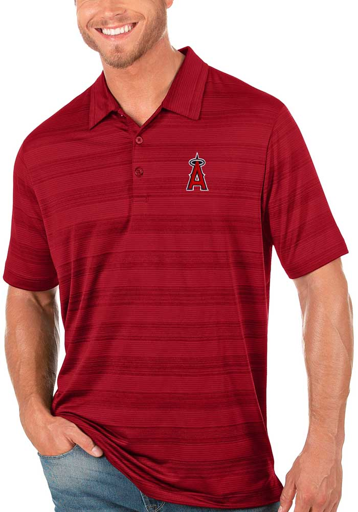Antigua Los Angeles Angels Mens Red Compass Short Sleeve Polo - Image 1