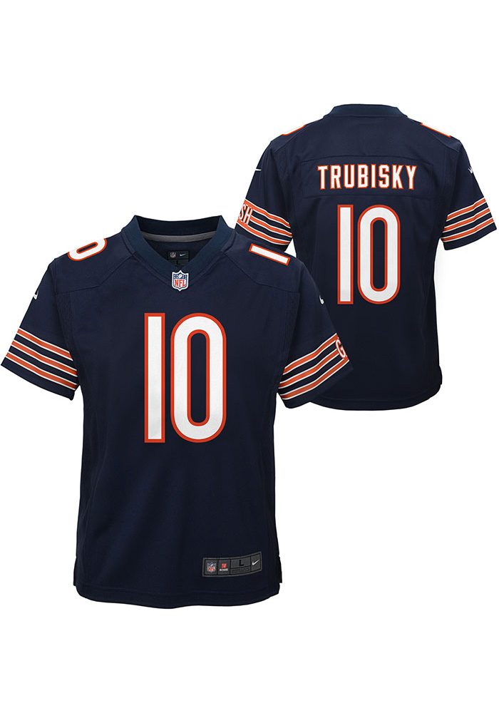 Mitch Trubisky Chicago Bears Youth Navy Blue Nike Gameday Football Jersey - Image 1