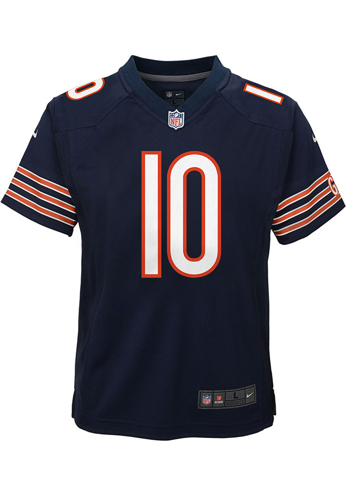 Mitch Trubisky Chicago Bears Youth Navy Blue Nike Gameday Football Jersey - Image 2