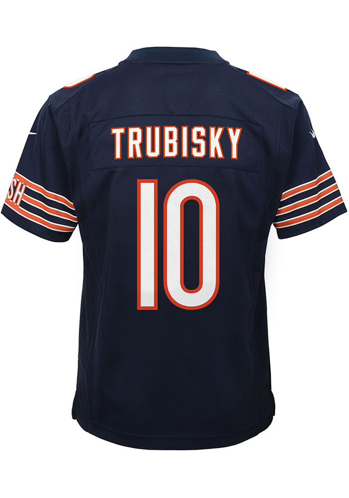 Mitch Trubisky Chicago Bears Youth Navy Blue Nike Gameday Football Jersey - Image 7