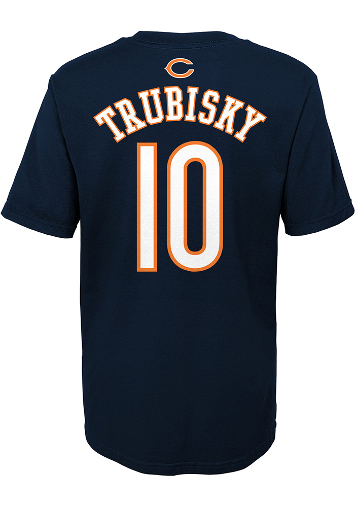 Mitch Trubisky Chicago Bears Boys Navy Blue Player Short Sleeve T-Shirt - Image 1