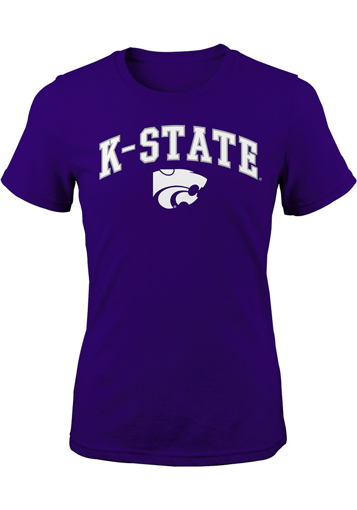 K-State Wildcats Girls Purple Arch Mascot Short Sleeve Tee - Image 1