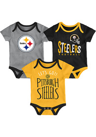 Pittsburgh Steelers Baby Little Tailgater One Piece - Black