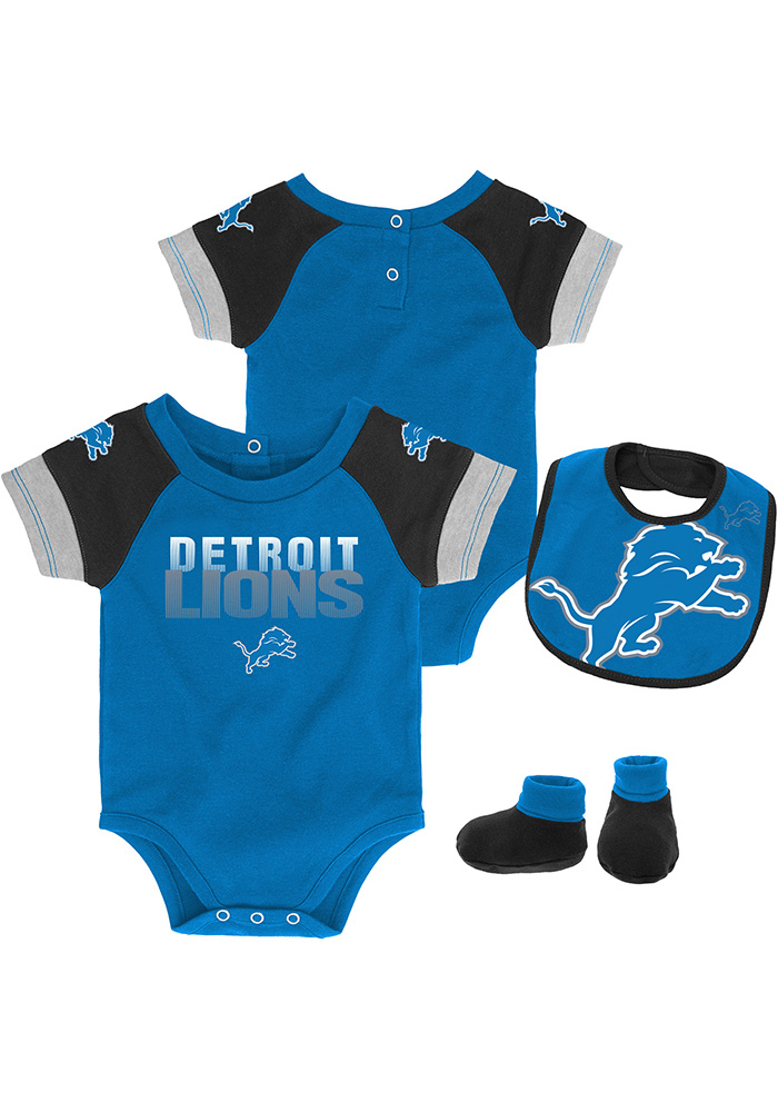 Detroit Lions Baby Blue 50 Yard Dash Set One Piece with Bib - Image 1